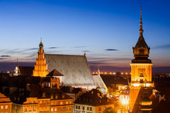 Old Town of Warsaw Twilight Skyline in Poland Royalty Free Stock Photos