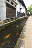 Old town with water canal in Japan Stock Image