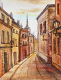 Old town. Watercolor painting: street of an old town Stock Images