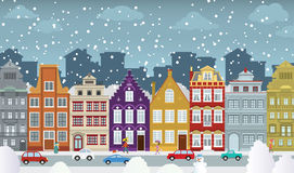 Old town in winter. Vector illustration of historical town in winter Royalty Free Stock Photos