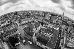 Old town of Wroclaw. Fish eye panorama of old town of Wroclaw, Poland Stock Photography