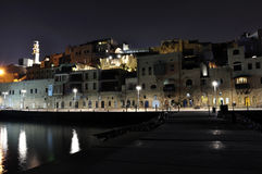 Old town of Yafo at night Stock Images