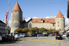 The old town of Yverdon les bains on Switzerland Stock Images
