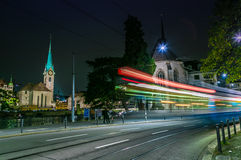 Old town of Zurich city at night Royalty Free Stock Photo