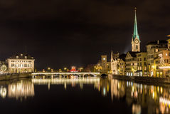 Old town of Zurich at night Royalty Free Stock Photography