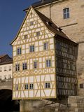 Old townhall. The half-timbered front house of the old town hall in Bamberg in Germany royalty free stock photos