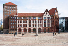 Old Townhouse of Dortmund. Dortmund, Germany, October 10, 2013: Old City Hall (altes Stadthaus) and Piece Column at Friedensplatz in the city center of Dortmund Royalty Free Stock Photo