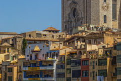 Old townhouse in Girona, Spain. View of old old townhouses in Girona, Spain stock photos
