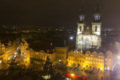 Old Towns Square christmas markets in front of in front of the Church of our lady before Týn Stock Image