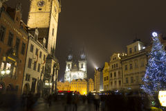 Old Towns Square christmas markets in front of in front of the Church of our lady before Týn Royalty Free Stock Image