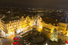 Old Towns Square christmas markets with a large christmas tree Stock Photography