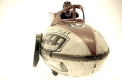 Old toy. Old rocket toy (retro color image Royalty Free Stock Photo