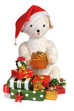 Old toy bear. White old toy bear with pile of  box gifts Stock Images