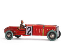 Old toy car. Vintage old toy race car Stock Photography