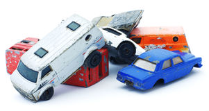 Old toy car wrecks Royalty Free Stock Image