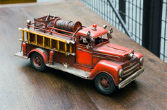 Old toy- Fire Engine. Close up Stock Photo