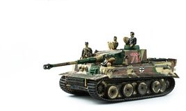 Old toy. Military tank with soldiers royalty free stock photo