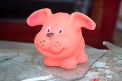 Old toy- pink dog Royalty Free Stock Images