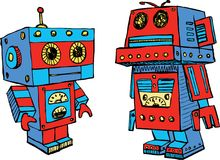 The old toy robots. Vector image of the cartoon robots stock illustration