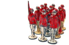 Old toy soldiers. Isolated on white background Royalty Free Stock Image