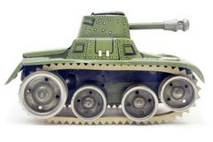 Old Toy Tank (Side View) Stock Image