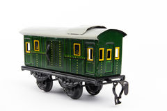 Old toy train. Old green toy train wagon Stock Photos