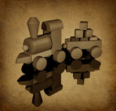Old toy train with grunge texture stock illustration