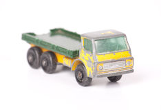 Old toy truck. Vintage die cast toy truck isolated on white Stock Photos