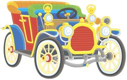 Old toy vintage car colorfully painted stock photography