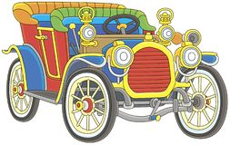 Old toy vintage car colorfully painted royalty free stock image