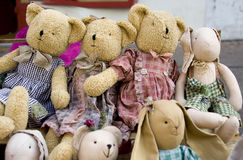 Old toys. Old Teddy bears and other old toys Royalty Free Stock Image