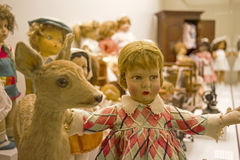 Old toys. Collection of dolls and other old toys Royalty Free Stock Image