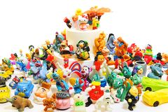 Old toys Kinder Surprise and other small toys Royalty Free Stock Photo