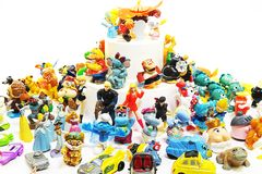 Old toys Kinder Surprise and other small toys Royalty Free Stock Photos