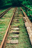 Old tracks to nowehere and into tjhe woods. stock image