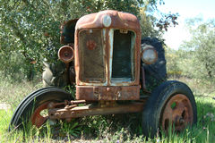 Old tractor. In farm Stock Photos