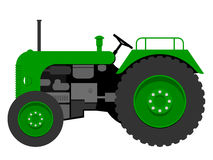 Old tractor. Old small and green tractor stock illustration