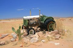 Old tractor namibia desert Stock Photography