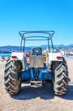 Old tractor in Agios Nikolaos Stock Photo