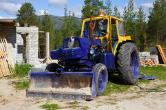 Old tractor on a construction site Royalty Free Stock Image