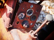 Old tractor control panel. Old tractor rustic control panel royalty free stock image