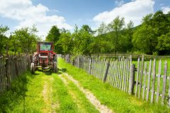Old tractor in countryside Royalty Free Stock Images