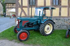 Old tractor diesel engine. Annual All-German festival of retro tractors,old tractor diesel engine Stock Photo