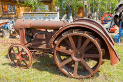 An old tractor on display at an outdoor museum in fort nelson Stock Photography