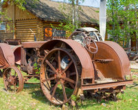 An old tractor on display at an outdoor museum in fort nelson Royalty Free Stock Images