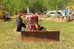 An old tractor on display at an outdoor museum in fort nelson Royalty Free Stock Image