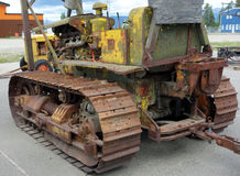 An old tractor on display outdoors in whitehorse. Royalty Free Stock Photo