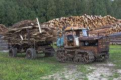 Old tractor DT-75 Kazakhstan waste removal from sawmills Royalty Free Stock Photo