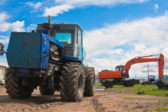 Old tractor and excavator Royalty Free Stock Image