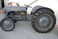 Old tractor in exposition. In agricultural museum royalty free stock photo